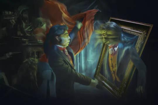 Tafsiran artis mengenai Dorian Gray muda yang berinteraksi dengan potret jahatnya. (seperti dorian grey s potret truf adalah cerminan jiwa amerika)