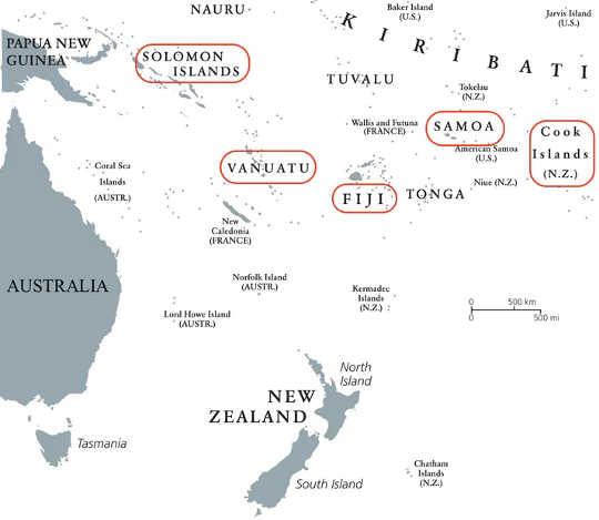Araştırmada kullanılan Pasifik adaları. (geleneksel beceriler, turizmden yoksun pasifik adalarındaki insanların pandemiden kurtulmasına yardımcı olur)