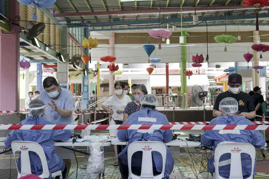 Ein Coronavirus-Screening-Zentrum in Singapur.