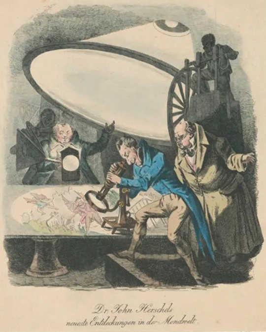 Uma litografia alemã com o objetivo de mostrar o aparelho de Herschel e seu método de projeção. (Batman e unicórnios dentro da brincadeira lunar original)