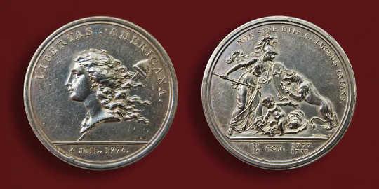 Benjamin Franklinin suunnittelema 1783 Libertas Americana -mitali.