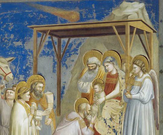 """Dipinto """"Adorazione dei Magi"""", di Giotto, che mostra la cometa nella Cappella degli Scrovegni, Padova, Veneto, Italia."""