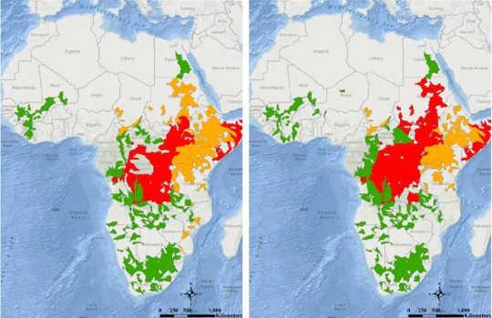 5-6 Mayıs 2020'de Afrika: sel izleme (kırmızı), uyarı (turuncu) veya tavsiye (yeşil) koşullarının görüldüğü alanlar.