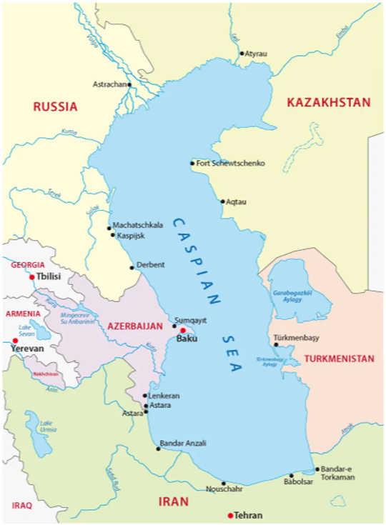 Der Kaspische Ozean grenzt an fünf Länder und ist ungefähr so groß wie Deutschland oder Japan. (Das Kaspische Meer wird in diesem Jahrhundert um 9 Meter oder mehr fallen.)