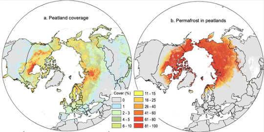 Kart som viser plasseringen av nordlige torvmarker og permafrost.