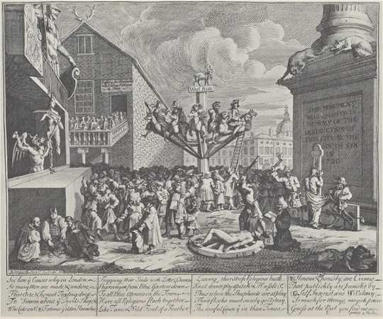 Svartvitt tryck av William Hogarth karikatyr South Sea Bubble.