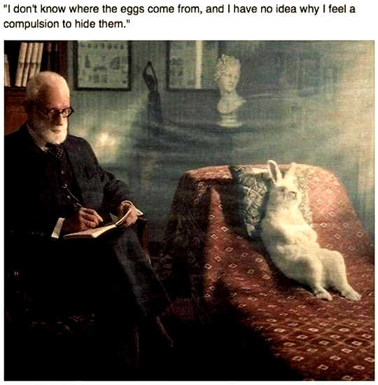 Easter Bunny psychotherapy session with Sigmund Freud