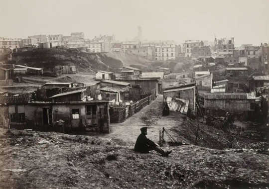 A photograph of slums in Paris.