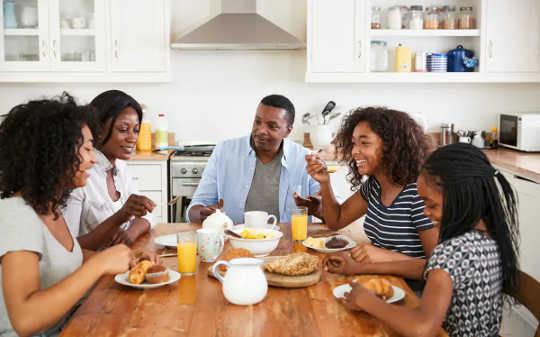 Família tomando café da manhã juntos.