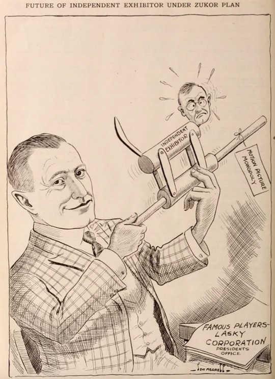 На карикатуре от Exhibitor's Herald изображено, как Адольф Цукор берет на себя контроль над независимыми владельцами театра.