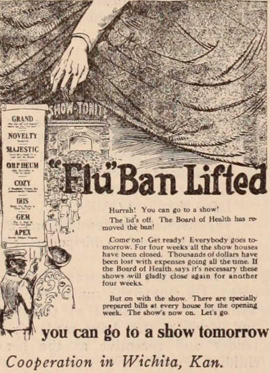 Une édition de 1918 du Motion Picture News annonce la levée d'une «interdiction de la grippe».