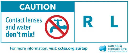 Benutzer mit Warnkontaktlinsen unterzeichnen, um den Kontakt mit Wasser zu vermeiden