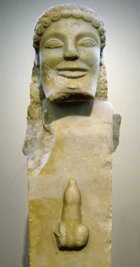 'Herm' grego (cerca do século VI aC). (escaravelhos falos olhos malignos como os amuletos antigos tentavam evitar doenças)