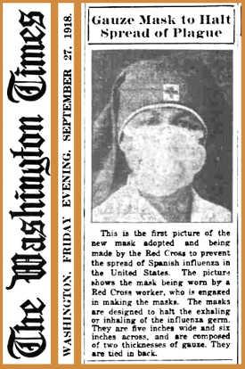 Artigo de jornal de 1918 apresentando um novo tipo de máscara para proteger os profissionais de saúde da gripe espanhola.