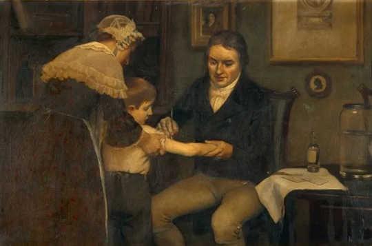 Ginagawa ni Edward Jenner ang kanyang unang pagbabakuna kay James Phipps, isang walong taong gulang na lalaki.