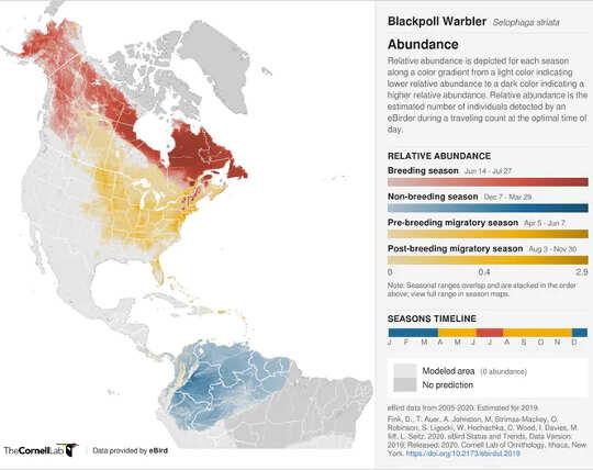 Karte mit Blackpoll Warbler Range