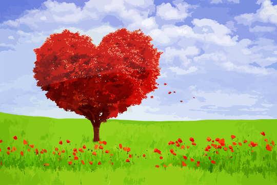 roter Baum in Herzform in einem grünen Feld mit roten Blüten im Vordergrund geformt