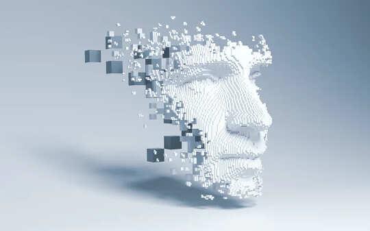 ein Gesicht, das aus Daten besteht