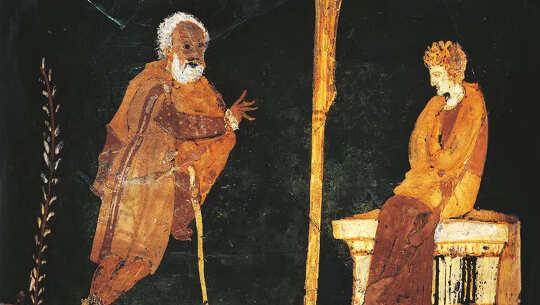beeld op 'n Griekse vaas