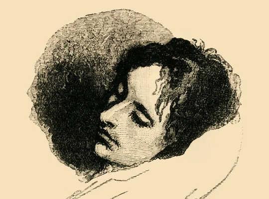 En teckning av John Keats med slutna ögon.