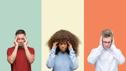 Drie mensen met pijn in hun hoofd