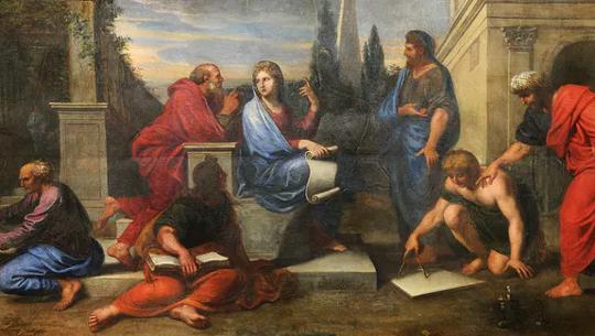 ميشيل كورنيل الأصغر: أسباسيا محاطة بالفلاسفة اليونانيين.