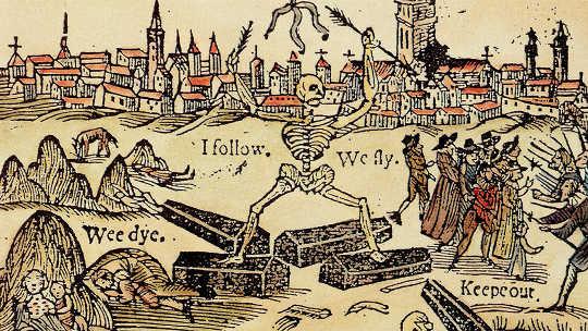 Kielelezo cha 1625 cha watu wa London wanaokimbia tauni.