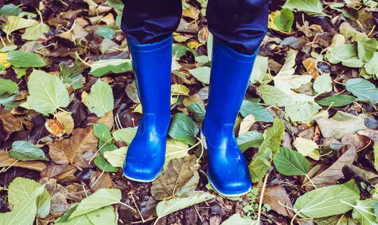 जमीन पर पत्तियों के साथ नीले रबर के जूते पहने बच्चे के पैर की तस्वीर