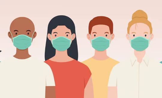 4 personer med forskjellige genetiske typer iført masker