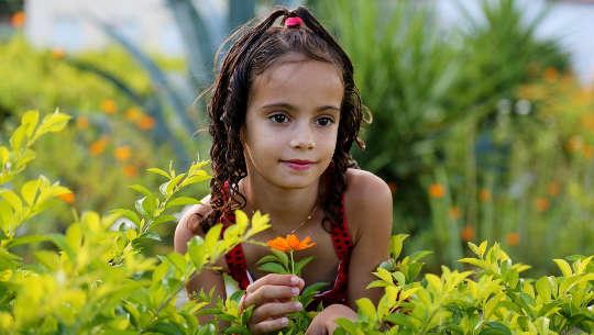 bitki ve çiçek tarlasında genç kız