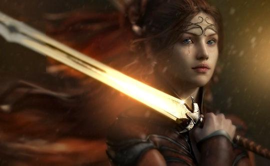 kvinna med lysande svärd