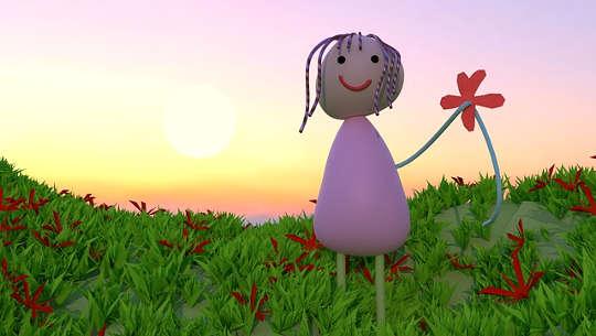 teckning av ett leende barn på ett fält