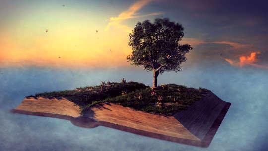 Afbeelding van een open boek dat in de lucht zweeft met een boom die uit het open boek groeit