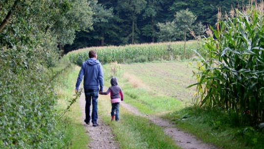 barn som går og holder en voksens hånd