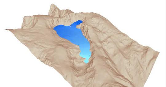 'N 3D-rekonstruksie van die Cuerpo de Hombre-paleoglacier in die sentrale reeks van die Iberiese skiereiland.