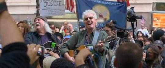 David Crosby ja Graham Nash Occupy Wall Streetillä