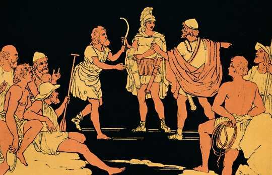Soturi Achillesin ja prinsessa Deidamian poika näyttämöllä kreikkalaisesta mytologiasta.