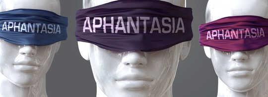 Bilde av utstillingsdukker med bind for øynene som sier 'aphantasia'.
