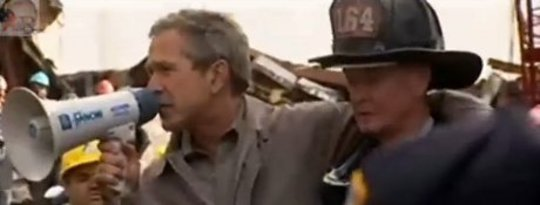 Bush On The Rubble After 9-11