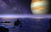hình ảnh của hành tinh sao Mộc trên đường chân trời của một bờ biển đá