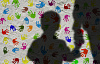 silhouette of a boy holding an adult's hand, with a background of colorful handprints on the wall