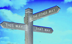 Post wijst in 3 verschillende richtingen: This Way, That Way en The Other Way