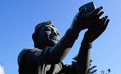 статуя будды держит подарок небесам