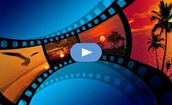 illustratie van een filmstrip met verschillende landschappelijke foto's op elk frame