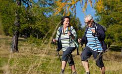 Một cặp vợ chồng lớn tuổi sử dụng gậy trekking khi đi bộ đường dài.