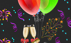 two champagne glasses and balloons... a celebration
