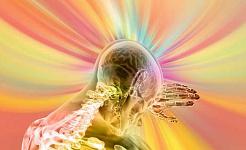 vue transparente du haut du corps avec des rayons de lumière