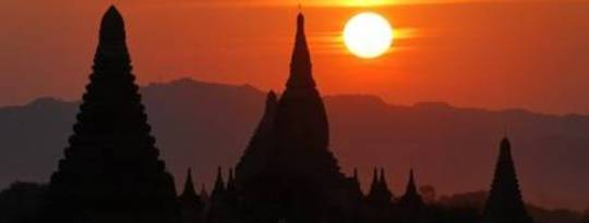 buddhism orient sunset